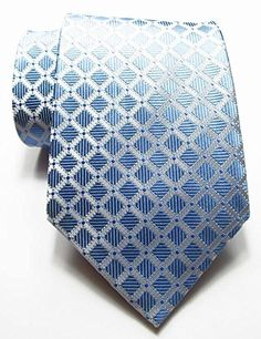 Secdtie Men's Classic Checks Light Blue White Jacquard Woven Silk Tie Necktie
