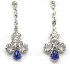 Art Deco Sapphire Diamond White Gold Earrings