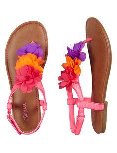 ffe934af7037 Triple Flower Glitter T-Strap Sandals