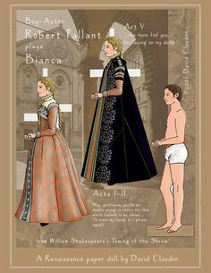 """Taming of the Shrew by David Claudon These dolls are so amazing. Notice that the artist's doll is male. Pretty cool since all of Shakespeare's actors were male. I also love that Mr Claudon has """"reproduced"""" costumes with colors and styles of the times."""