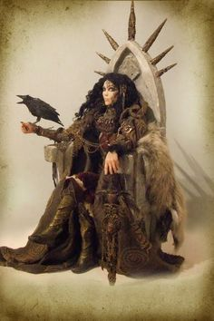 The Goddess Morrigan with a Crow