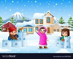 Cartoon kids playing in the snowing village Vector Image Kids Vector, Vector Free, Vector Stock, Winter Clipart, Letters For Kids, Merry Christmas And Happy New Year, Cartoon Kids, Winter Season, Kids Playing