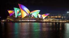 Sydney Opera House during Vivid Festival + 20 other festivals in Australia not to miss: http://www.ytravelblog.com/australian-festivals-events/
