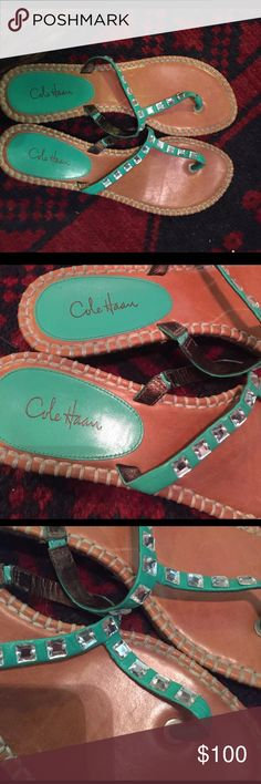 Like new Coke haan!! AUTHENTIC COLE HAAN bejeweled thong sandals with espadrille slight wedge.  Brand new!!!!!! Cole Haan Shoes Sandals