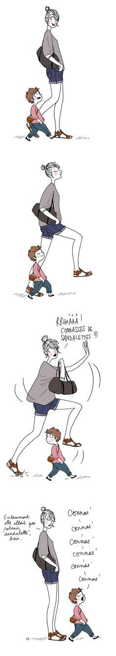 L'art de l'éducation ;-) #autodérision :-) People Illustration, Illustrations, Cartoon Caracters, Girls Run The World, Funny Memes, Hilarious, Image Fun, Girl Sketch, Funny Text Messages