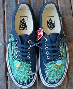 Wavy Peacock Feather Vans shoes by BStreetShoes on Etsy Buy Shoes, Vans Shoes, Me Too Shoes, Shoes Uk, Basketball Shoes, Peacock Shoes, Peacock Feathers, White Tennis Shoes, Converse
