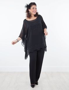Tacet black top with slip and Rosalind trouser at Box 2