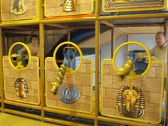 Egyptian Themed Ballistic Ball Shooters and Arenas by International Play Company www.iplayco.com - Great for an indoor entertainment center. Ball shooters, ball volcanoes, targets and it can also be themed. #indoor #playground #interactive #ballocity #themed #cannons