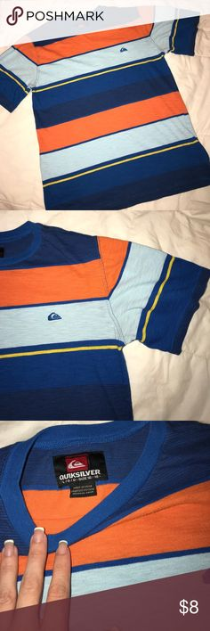 Striped tee Striped short sleeve Tee. 60% cotton 40% polyester. Stripes are in shades of dark blue cobalt blue light blue yellow and orange. Some minor piling (nothing a sweater shaver can't handle) no fading. Large 16/18. Price is negotiable, please use offer button, discounts on bundles. Quiksilver Shirts & Tops Tees - Short Sleeve