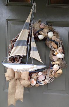 Beach Wreath, Nautical, Wreath, Summer Wreath, Sailboat, Boat, Seashell Wreath, Summer Home, Summer Wreaths    What a great wreath for your