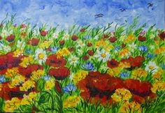 GALERIA PALOMO MARIA LUISA: CAMPO FLORIDO.... Painting, Art, Painted Flowers, Palms, Country, Art Background, Painting Art, Kunst, Paintings