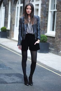 zara,+stripes,+shirt,+black+and+white,+velvet+shorts,+pointed+boots.jpg (750×1120)
