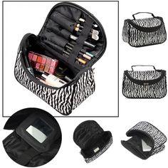 패션 다기능 휴대용 방수 여성 메이크업 가방 스토리지 주최자 상자 뷰티 케이스 여행 파우치 얼룩말 화장품 가방