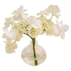 "Check out this item at One Kings Lane! 9"" Butterfly Hydrangea in Vase, White"
