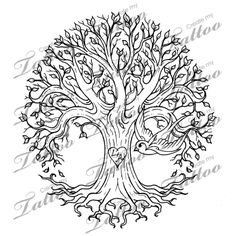 Family Tree Tattoo | Family Tree Design - Stencil #26303 | CreateMyTattoo.com