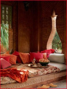 great even for living room Build Naturally with Sigi Koko One more example of an oasis for hot days...this one is appropriate for dry climates. Shaded adobe stays nice & cool. Tall window openings encourage airflow. This photo is from www.facebook.com/Morocco.Art.Architecture
