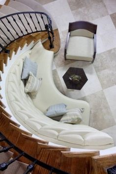 custom bench curved stairwell - Google Search