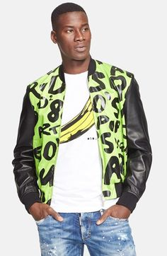 Dsquared2 Print Stretch Cotton Bomber Jacket with Genuine Leather Sleeves - that should be mine!