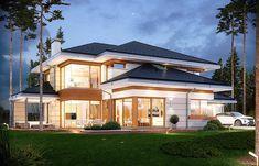 Dom z Widokiem Luxury House Plans, Modern House Plans, Modern House Design, House Floor Plans, Layouts Casa, House Layouts, Building Exterior, Building A House, Big Houses Inside