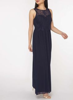 Womens **Showcase Petite Navy 'Grace' Maxi Dress- Blue