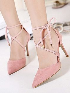 Shop Pink Suedette Pointed Bow Tie Lace Up Heels from choies.com .Free shipping Worldwide.$32.99