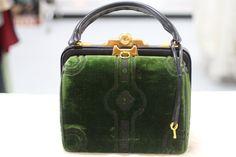 Vintage Green Velvet Roberta Di Camerino Handbag with Locking Closure,
