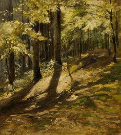 Julius Mařák (Czech, In a Forest. Oil on paper mounted on cardboard, 39 x 35 cm. Fantasy Paintings, Landscape Paintings, Landscapes, Tree Paintings, Tree Roots, European Paintings, Art Studies, Tree Art, Famous Artists