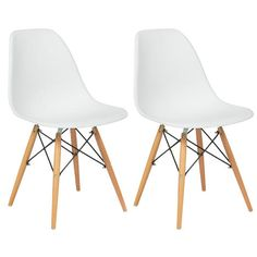 BestChoiceproducts Set of (2) Eames Style Dining Chair Mid Century Modern Molded Plastic Shell Arm Chair