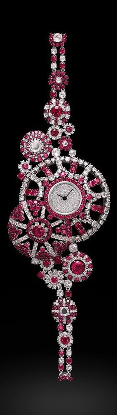 Captivation Kaleidoscope Watch - White Diamonds, Rubies and 18K White Gold with Pave Dial - Carnet Jewelry by Michelle Ong