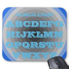 English Alphabet Royal Blue Art Mousepad by Janz
