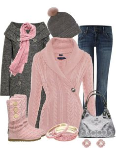 Pink crochet wrap top, Gray double breasted coat. Jeans. Pink uggs.