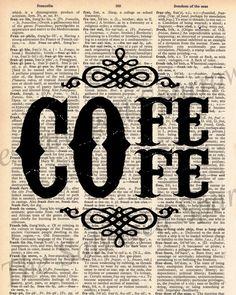 Vintage Dictionary Coffee Decor Print - via Etsy.