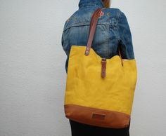 Canvas Bags – Tote bag made of waxed cotton canvas ,yellow – a unique product by NATURAL-HERITAGE-BAGS on DaWanda