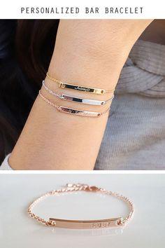Best Friend Necklaces, Best Friend Jewelry, Metal Stamped Bracelet, Piercings, Couple Jewelry, Accesorios Casual, Bridesmaid Bracelet, Initial Bracelet, Cute Bracelets
