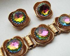 Classy Vintage Rhinestone Bracelet Earring Set by MartiniMermaid, $345.00