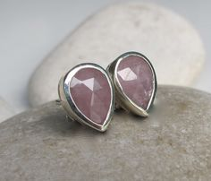 Pink Sapphire Stud Pear Shaped Sapphire Earring Pink by Belesas