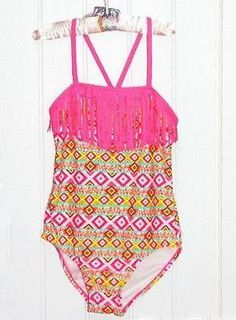 NEW Malibu Dream Girl Pink Aztec Print Fringe One-piece Swimsuit 8 10 12 NWT