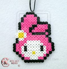 Onegai My Melody Anime Necklace Bead Sprite Perler Art Ate Bit Melty Bead Patterns, Pearler Bead Patterns, Bead Loom Patterns, Perler Patterns, Beading Patterns, Perler Bead Templates, Diy Perler Beads, Perler Bead Art, Pearler Beads