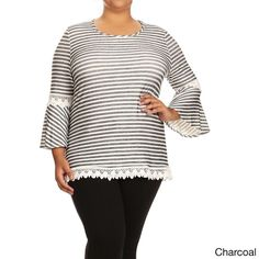 Women's and Spandex Plus-size Polka-dot Lace Trim Tunic