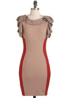 Ful-frill Your Destiny Dress - Tan, Red, Ruffles, Party, Vintage Inspired, Short Sleeves, Mid-length, Bodycon / Bandage, Girls Night Out, Colorblocking $49