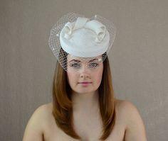Cream Velour Felt Bridal Hat with Birdcage Veil  by RUBINA Millinery  #bridal #hat #wedding #headpiece #fascinator #christening #porkpiehat #pillbox #rubinamillinery