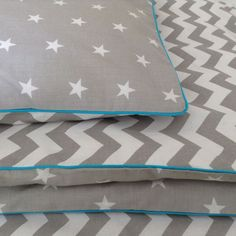100% cotton Cot bed duvet cover set grey stars boys bedding