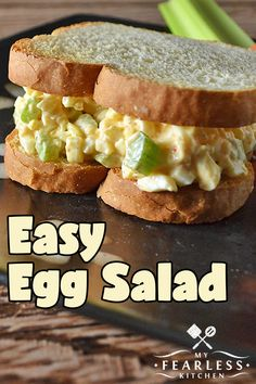 Easy Egg Salad from My Fearless Kitchen. Whip up this Easy Egg Salad recipe in no time at all! It& quick and simple, and it tastes so good. sometimes you just need a little egg salad! Easy Homemade Recipes, Easy Salad Recipes, Egg Recipes, Real Food Recipes, Burger Recipes, Dinner Recipes, Healthy Recipes, Best Egg Salad Recipe, Simple Egg Salad Recipe