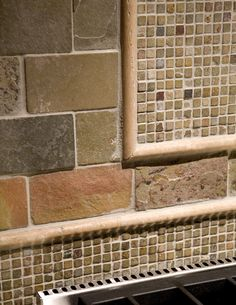 Natural Stone Backsplash kitchen backsplash?? love the combination of colors and sizes! are