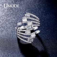 Fashion Jewelry Women White Gold Plated Luxurious 4X2mm 0.15ct Emerald Cut CZ Finger Rings AUR0320
