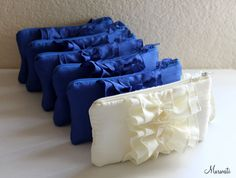 Wedding Clutches-Bridal Bridesmaids Gift-SET OF 6 Fairy Tale-Cobalt Blue Pink Purple Yellow Brown Navy Teal  Silver and Many More. $144.00, via Etsy.