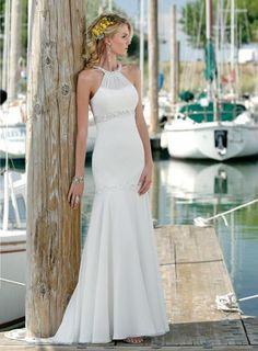 $160.59 Dramatic Trumpet/Mermaid High Neck Beach Wedding Dresses