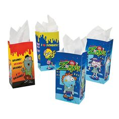 Zombie Gift Bags. The kids can use these to carry home their loot. $3.75 per pkg of 12. http://www.partypalooza.com/Merchant2/merchant.mvc?Screen=PROD&Product_Code=ZombiesGiftBags