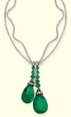 A FINE ART DECO EMERALD AND DIAMOND NECKLACE, BY BOUCHERON. Designed as two…