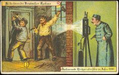 Police X-Ray Surveillance Machine Postcards produced by German chocolate company Hildebrands Sience Fiction, Future Predictions, German Chocolate, Funny Illustration, Imagines, Weird And Wonderful, What Is Life About, Dieselpunk, Old Pictures